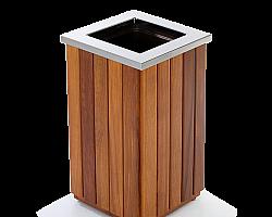 Lixeira de madeira para shopping